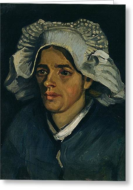 Head Of A Peasant Woman, 1885 Oil On Canvas Laid On Millboard Greeting Card by Vincent van Gogh