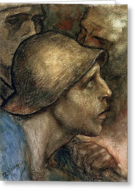Head Of A Worker Greeting Card