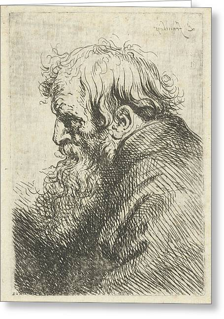 Head Of An Old Man, Lucas Franchoys II Greeting Card