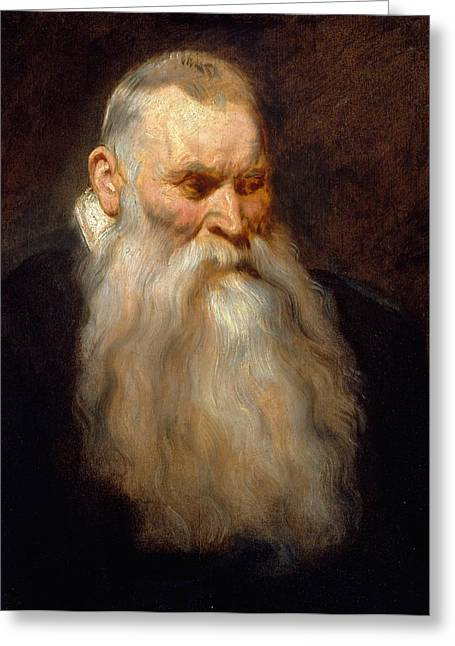 Head Of An Old Man With A White Beard Greeting Card by Anthony van Dyck