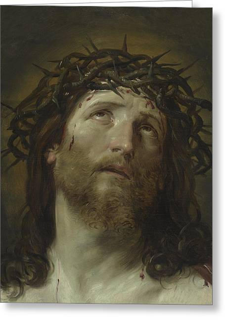 Head Of Christ Crowned With Thorns Greeting Card by Guido Reni