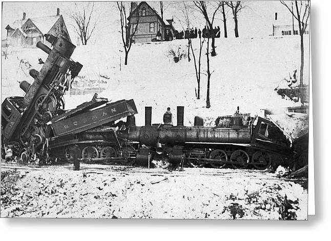 Head On Train Wreck Greeting Card by Underwood Archives