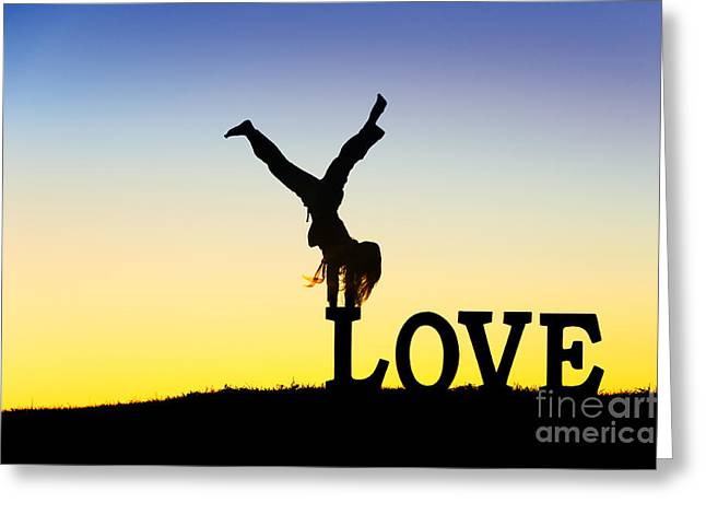 Head Over Heels In Love Greeting Card by Tim Gainey