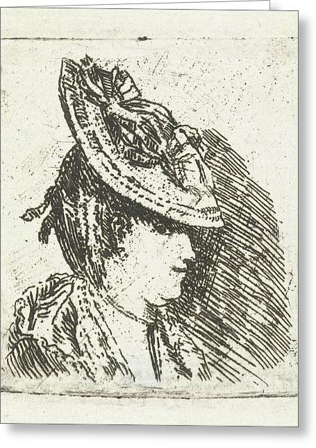Head Study Of A Young Woman With Hat, Print Maker Louis Greeting Card by Louis Bernard Coclers