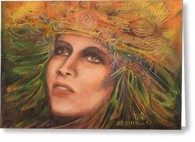 Headdress Greeting Card by Debra Lynn Birchell
