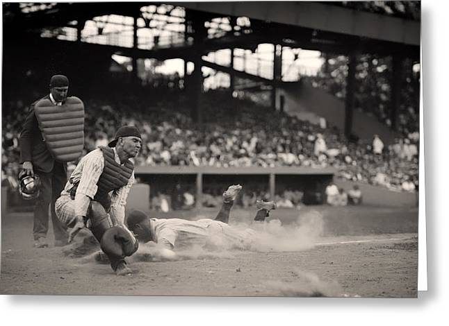 Headfirst Slide By Lou Gehrig Greeting Card