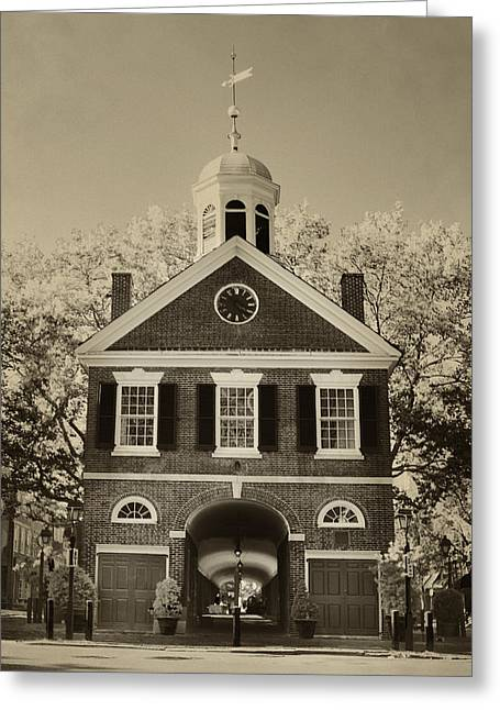 Headhouse Square - Philadelphia In Sepia Greeting Card by Bill Cannon