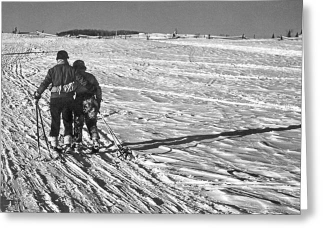 Heading Home After Skiing Greeting Card by Underwood Archives