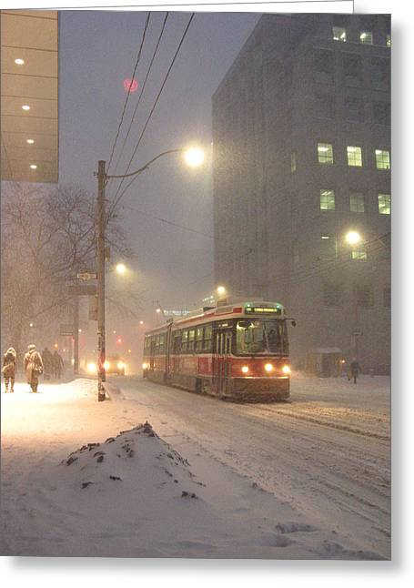 Heading Home In The Snowstorm Greeting Card