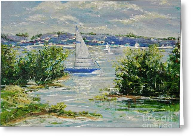 Heading Out Of The Harbor Greeting Card