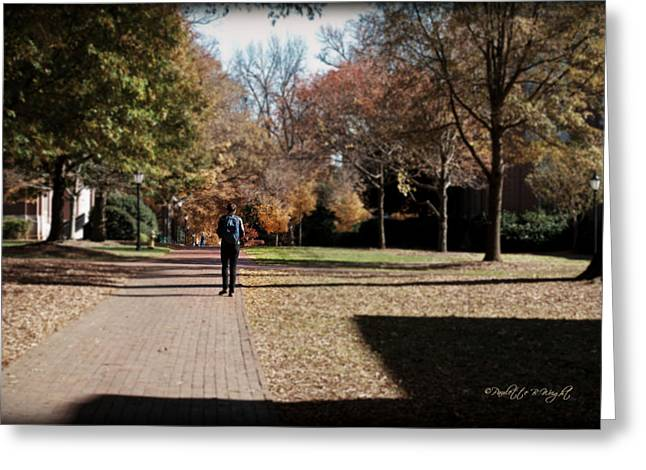 Heading To Class - Davidson College Greeting Card by Paulette B Wright