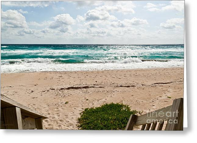 Heading To The Beach Manalapan Florida Greeting Card by Michelle Wiarda