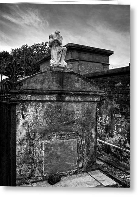 Headless Angel In Black And White Greeting Card by Chrystal Mimbs