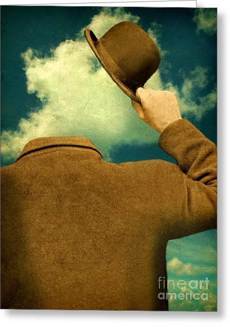 Headless Man With Bowler Hat Greeting Card by Jill Battaglia