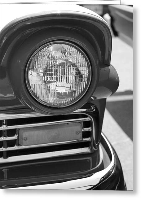 Greeting Card featuring the photograph Headlight Black And White by Denise Beverly