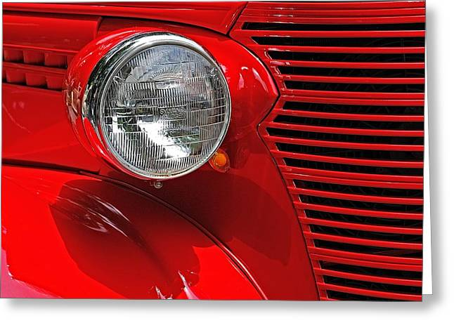 Greeting Card featuring the photograph Headlight On Red Car by Ludwig Keck