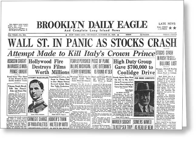 Headlines For Wall St. Crash Greeting Card