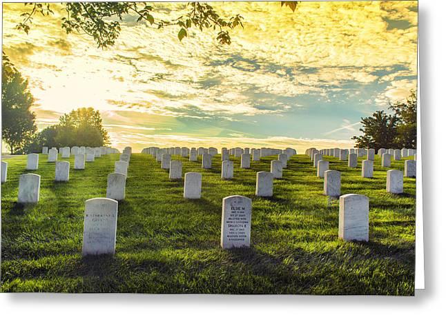 Headstones Basking In Sunlight Greeting Card by Bill Tiepelman
