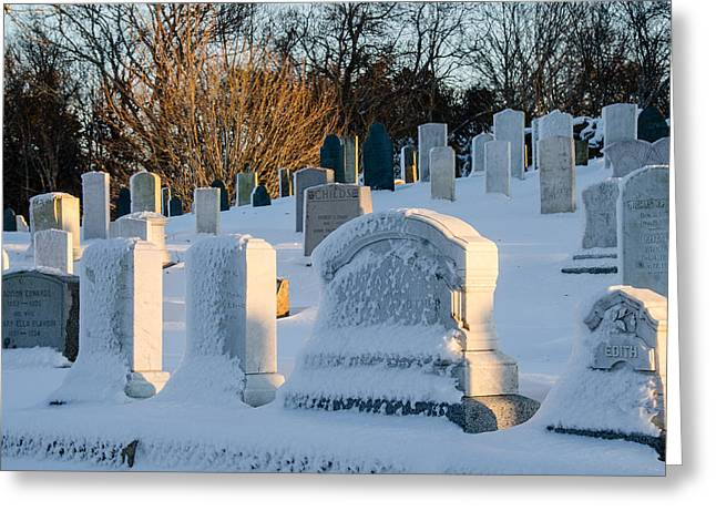 Headstones In Winter Greeting Card