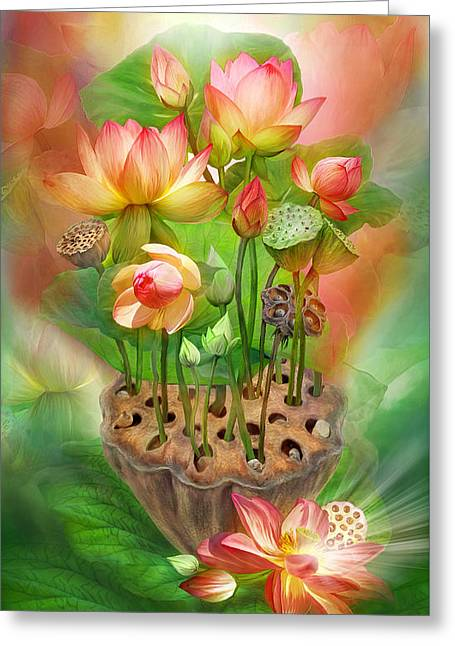 Healing Lotus - Sacral Greeting Card by Carol Cavalaris