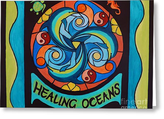 Greeting Card featuring the painting Healing Oceans by Janet McDonald