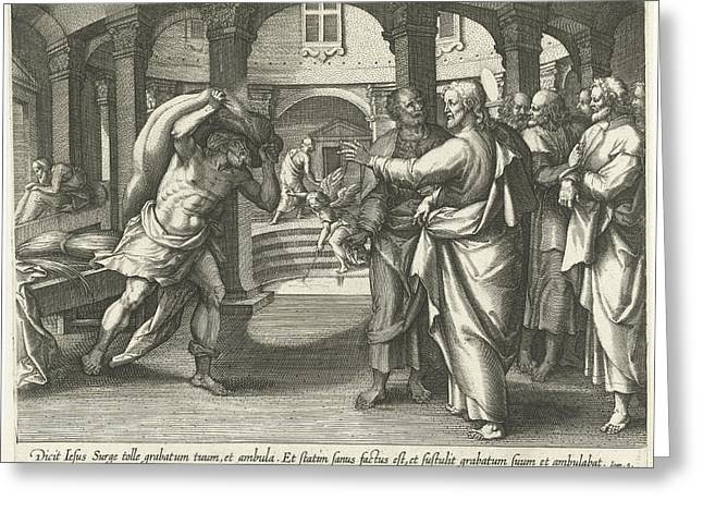 Healing Of The Man At The Pool Of Bethesda Greeting Card by Jacques De Bie And Adriaen Collaert