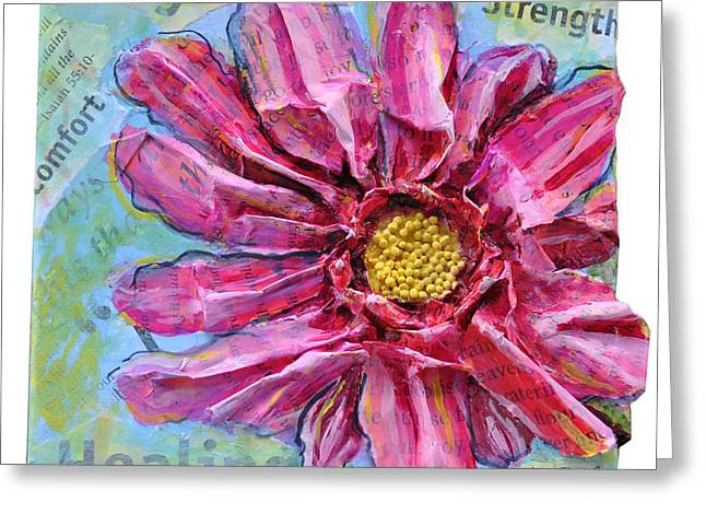 Greeting Card featuring the painting Healing Pink Zinnia by Lisa Fiedler Jaworski