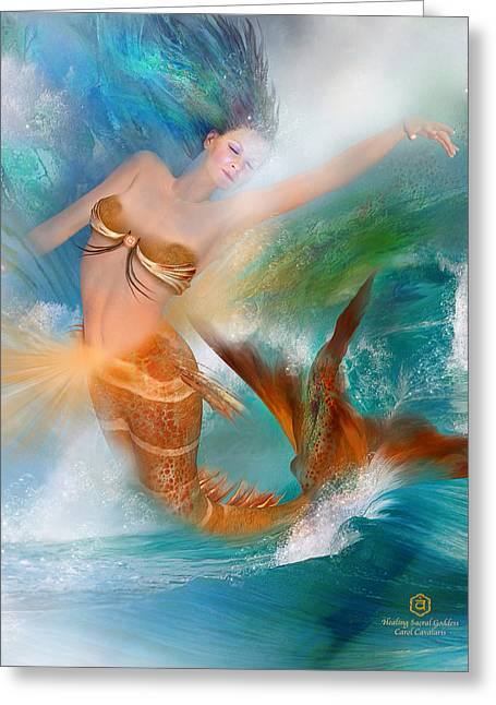 Healing Sacral Goddess Greeting Card by Carol Cavalaris