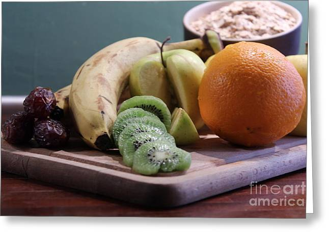 Healthy Breakfast Fruits And Cereals Greeting Card