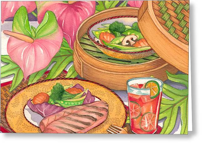 Healthy Dining Greeting Card by Tammy Yee