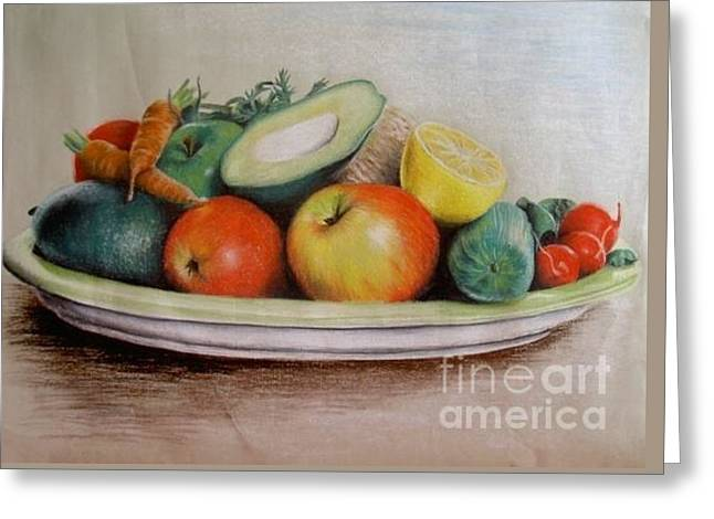 Healthy Plate Greeting Card by Katharina Filus