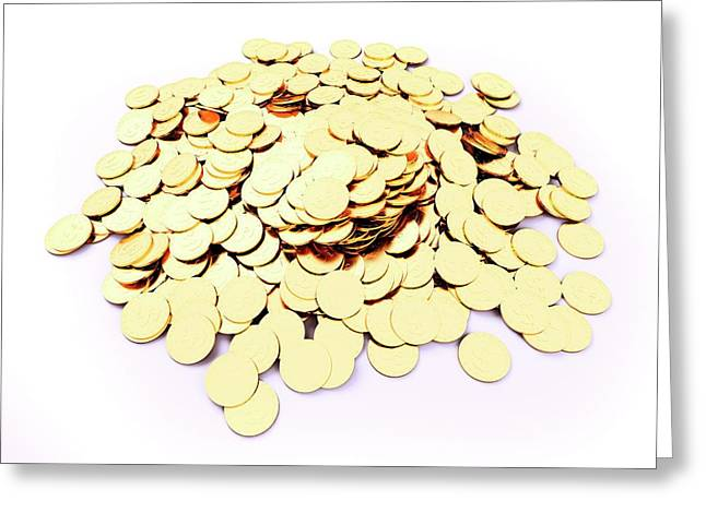 Heap Of Golden Coins Greeting Card