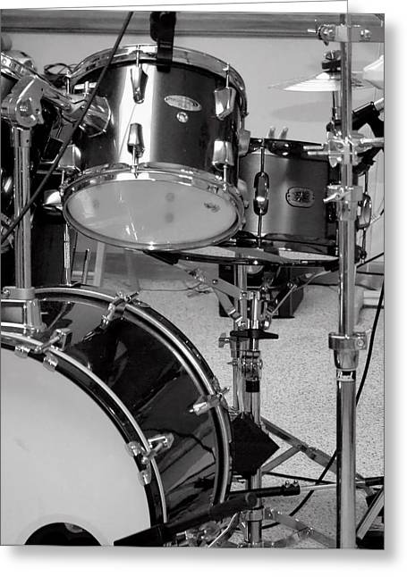 Hear The Music - A Drum Set Up For Recording Greeting Card