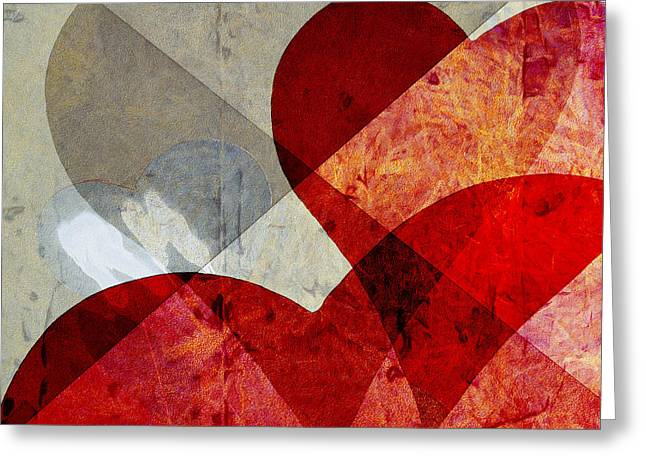 Hearts 8 Square Greeting Card by Edward Fielding