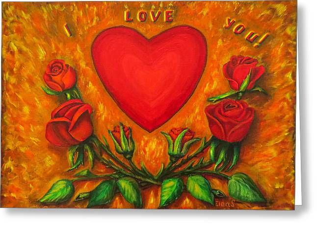 Heart And Roses Of Love Greeting Card by Zina Stromberg