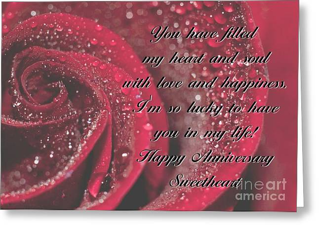 Greeting Card featuring the digital art Heart And Soul Anniversary Rose by JH Designs