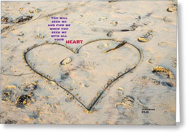 Heart And Words Greeting Card by Joseph S Giacalone