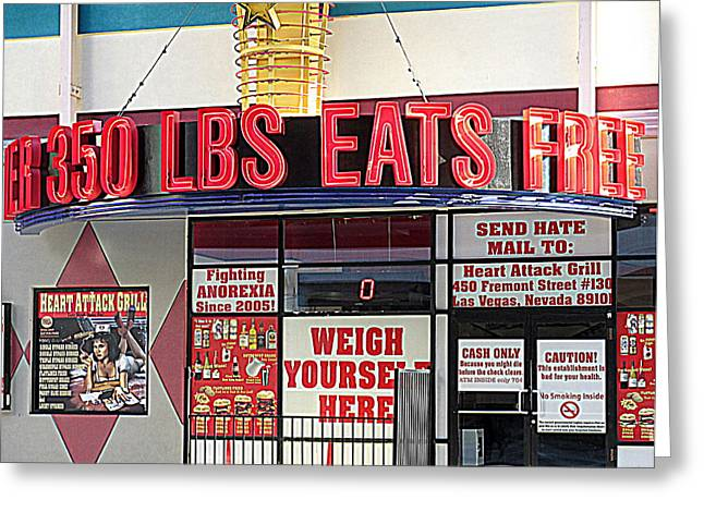Heart Attack Grill Greeting Card by Kay Novy