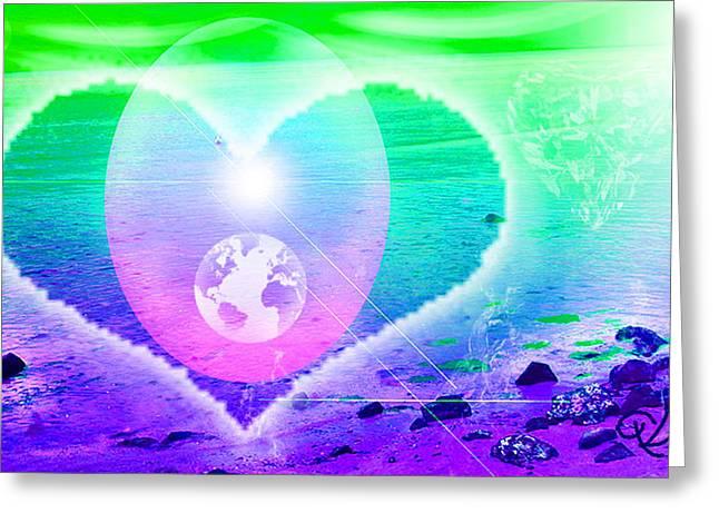 Heart Beach Greeting Card by Ute Posegga-Rudel