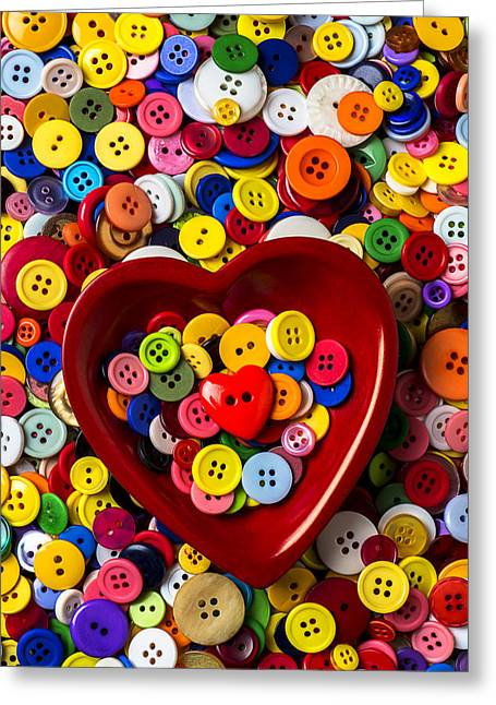Heart Bowl With Buttons Greeting Card by Garry Gay