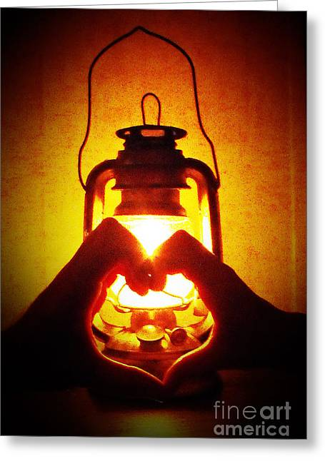 Heart By Golden Light Greeting Card by Katherine Williams