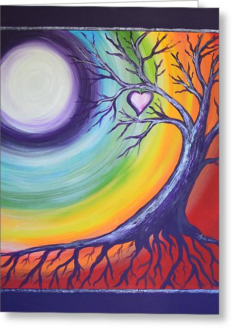 Greeting Card featuring the painting Heart Chakra Meditation by Agata Lindquist