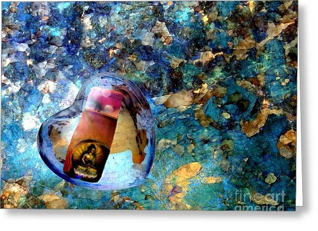 Heart Glass Orbs Stupa Greeting Card by Marlene Rose Besso