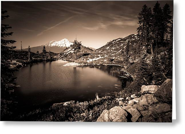 Heart Lake And Mt Shasta Greeting Card