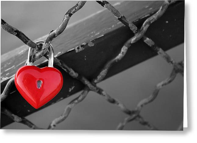 Heart Lock Greeting Card by Lisa Parrish