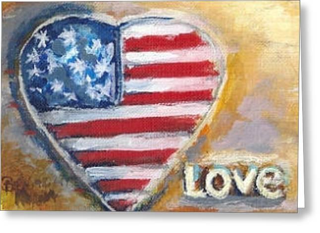 Heart Love Usa Greeting Card by Bernadette Krupa