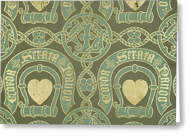 Heart Motif Ecclesiastical Wallpaper Greeting Card by Augustus Welby Pugin