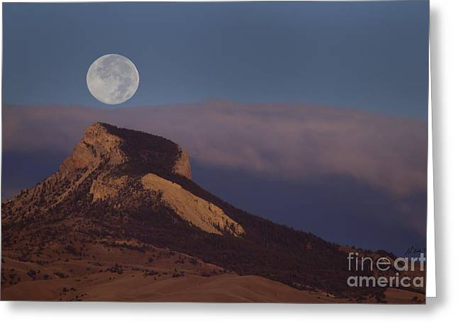 Heart Mountain And Full Moon-signed-#0325 Greeting Card