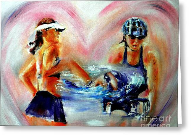Heart Of The Triathlete Greeting Card by Sandy Ryan