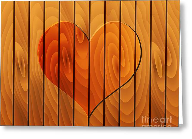 Heart On Wooden Texture Greeting Card by Michal Boubin